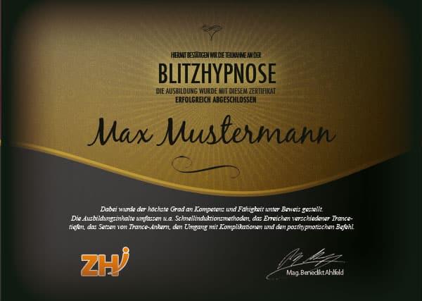 Blitzhypnose Zertifikat